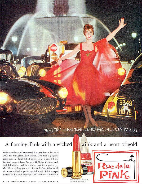 1959 Coty Rue de la Pink lipstick ad. Maserati Auction
