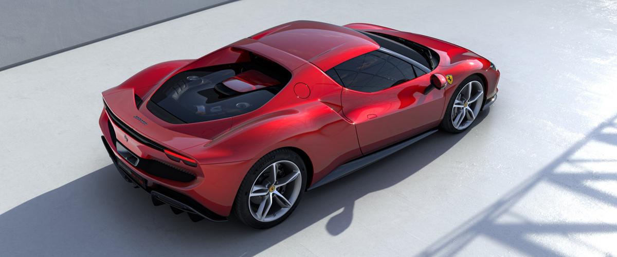 Red Ferrari 296GTB top rear view - Leasing Ferraris