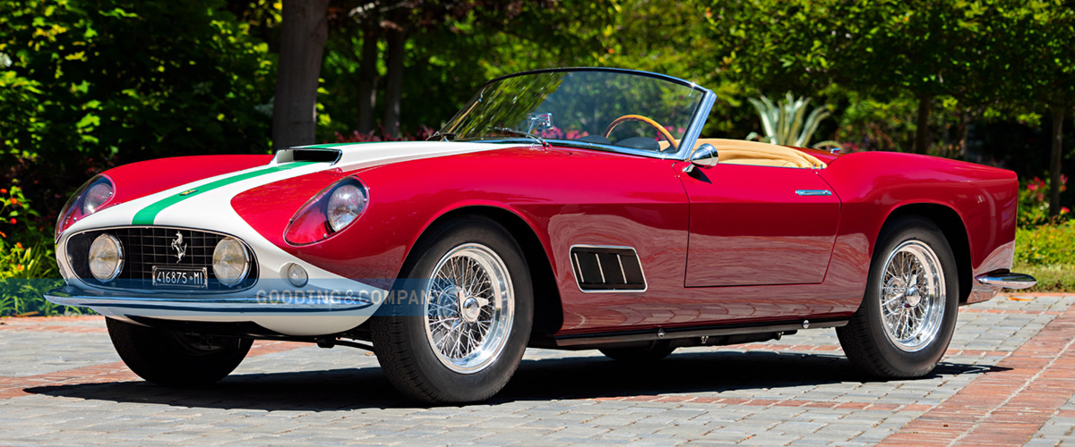 1959 Red and white Ferrari GT LWB California Spider front left