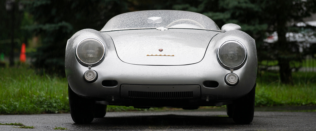 1955 Porsche 550 Spyder head-on view. Vintage Car Financing