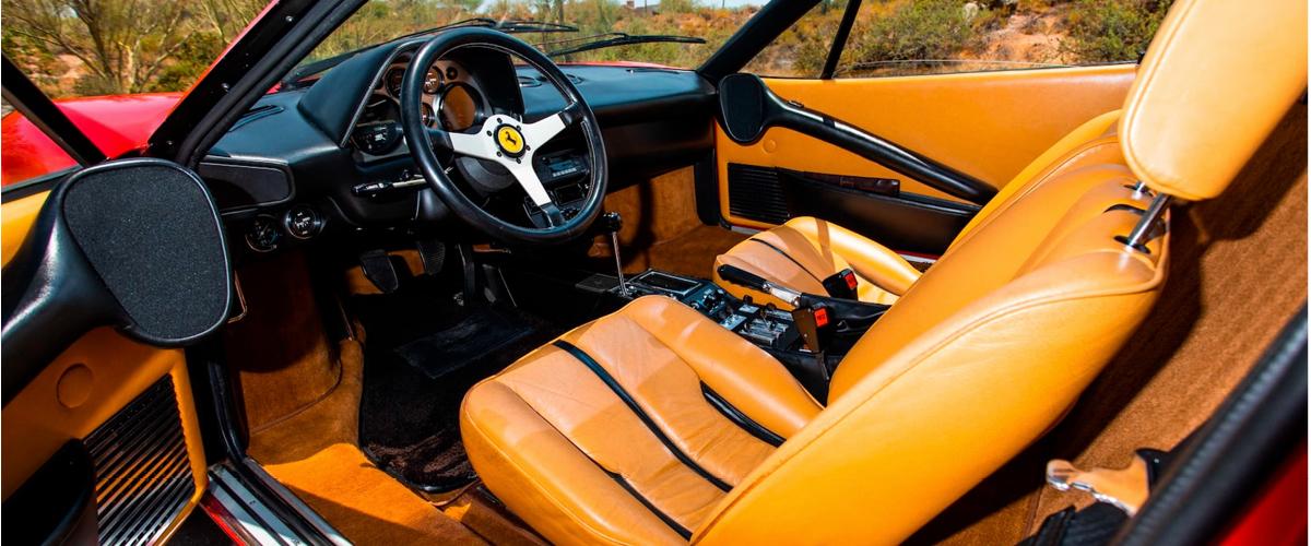 Red Ferrari 308 GTB interior. financing a vintage car