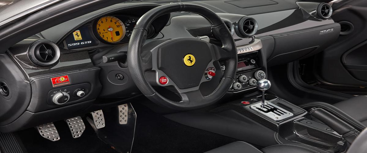 Ferrari 599 GTB interior showing stick shift