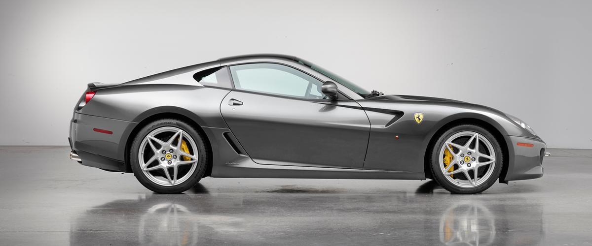 Gray Ferrari 599 GTB right side profile