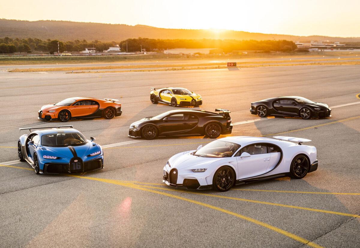 Bugatti Chiron models on an airport runway